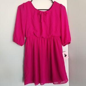 NWT girls 10 dress berry pink fuchsia bow
